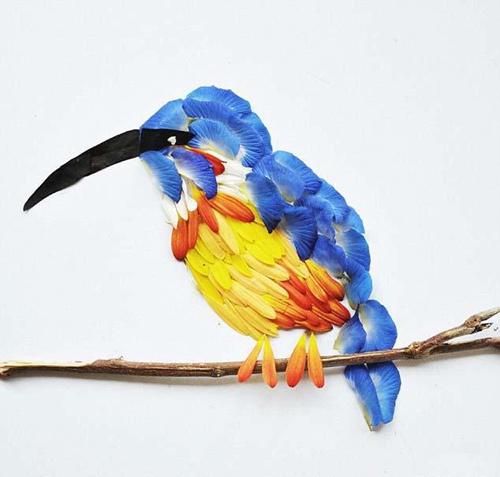 艺术欣赏:花瓣拼接成的飞禽