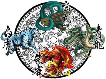古中国传说的四大神兽分别为青龙、白虎、朱雀、玄武。东方青龙为木,西方白虎为金,南方朱雀为火,北方玄武为水,中央黄为土。属于古代神话和天文学结合的产物。《淮南子》有提到五龙之一的黄龙是中央,乃四圣兽之长。黄龙在古代是皇权象征,后来这个地位被仁兽(黄麟)替代或是同等看待,但不意味四兽之长也让了出来。 中国古代把天空里的恒星划分成为三垣和四象七大星区。所谓的垣就是城墙的意思。三垣是紫微垣,象征皇宫;太微垣象征行政机构;天市垣象征繁华街市。 这三垣环绕着北极星呈三角状排列。在