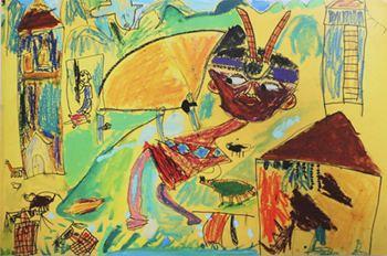 水彩幼儿园美术油画棒作品